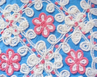 Plush Tonal Pink, White and Blue Floral Vintage Cotton Chenille Bedspread Fabric 22 x 25.5 Inches
