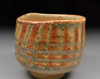 Larger Handmade Stoneware Yunomi Tea Cup glazed  with Carbon Trap Shino and Finger Wiped