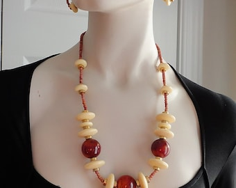 60s Cream & Butterscotch  Bakelite/ Lucite  Beads Necklace Earrings Set