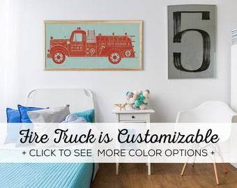 Vintage Fire Truck Wall Decor - Custom Made Fire Truck Print for Boys Room Wall Art - White Oak Frame Included!