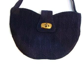 Vintage Woven Corded Fabric HandBag Vintage Evening Bags Vintage Shoulder Bags Navy Blue Purses And Handbags Navy Blue Evening Bag