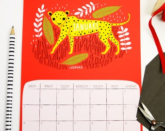 Safari Calendar, Animal Calendar, 2018 Wall Calendar, Wildlife Calendar, Illustrated Calendar, Wall Calendar, Gifts Under 25, 2018 Calendar