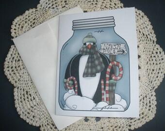 Penguin in a Jar Note Cards ~ N68