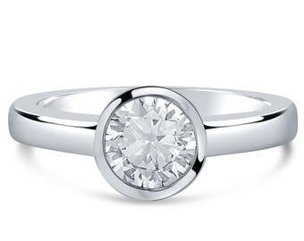 Round Solitaire 1ct Bezel Set Diamond Ring R261