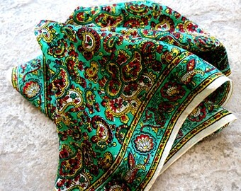 Vintage Silk Scarf Paisley Hand Printed Hand Blocked India Green Red Gold Square