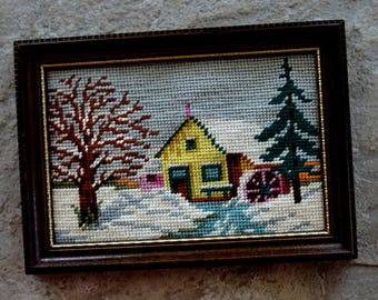 Vintage Needlepoint Country Scene Farmhouse Water Wheel Country Mill Creek Woods