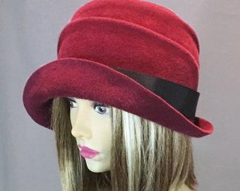Olivia, Fur Felt Cloche, millinery hat, Downton Abbey era, maroon color