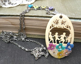 playing children necklace assemblage summer flower collage sweet memories upcycled vintage jewelry play romantic