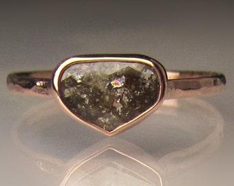 14k Rose Gold Rose Cut Diamond Engagement Ring, Diamond Slice Ring, 14k Rose Gold Hammered Diamond Ring