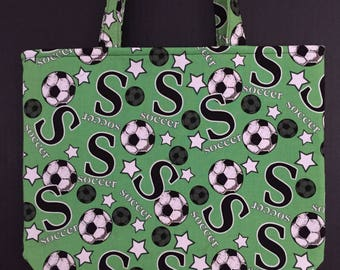 Soccer Fan Tote Bag/Book Bag/Project Bag/Shopping Bag