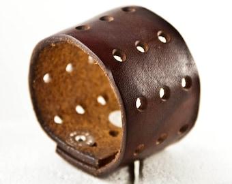 Brown Leather Plain Bracelet Simple Cuff Retro Wristband