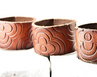 Leather Jewelry Brown Bracelet Wrist Cuff for Women