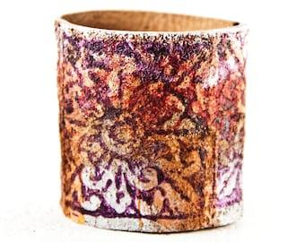 Leather Jewelry Women's Bracelet - Turquoise, Orange, Purple, Silver, White, Wide Cuff