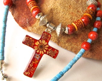 Taxco Dried Flower Cross Necklace w Sterling, Turquoise, and Coral