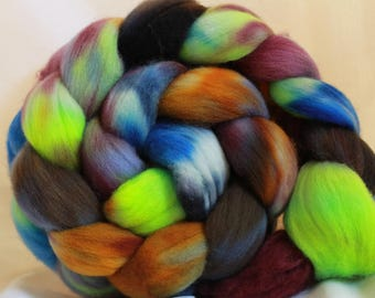 Hand dyed Organic Polworth spinning wool/fiber/roving 4.1 oz/116 grams #101