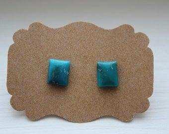 Turquoise Stud Earrings, Genuine Turquoise, Genuine Turquoise Posts, Sterling Silver, Sterling Silver Turquoise Earrings, Turquoise Jewelry