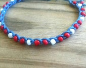 Anklet Red, White and Blue Ties On Adjustable Length Durable