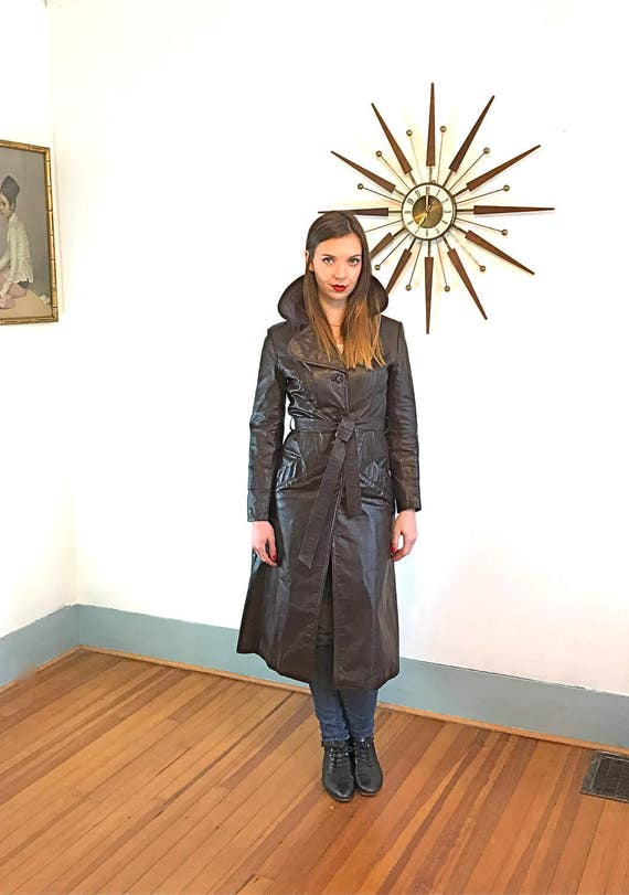 Vintage 70s Joanna Fine Leather's Trench Dark Chocolate Brown Ladies Jacket Long Button Down Belted Lined Fitted Sexy 1970s Women's Coat