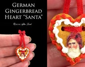 Luxury Christmas Gingerbread Heart Santa - Artisan fully Handmade Miniature in 12th scale. From After Dark miniatures.