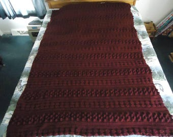 Red Heart Claret Triple Pattern Hand Crocheted Afghan, Blanket, Throw - Home Decor