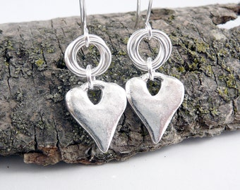 Heart Shaped Earrings, Silver Dangle Earrings, Love Jewelry, Romantic Gifts, Love Earrings, Heart Jewelry, Love Gifts, Silver Drop Earrings