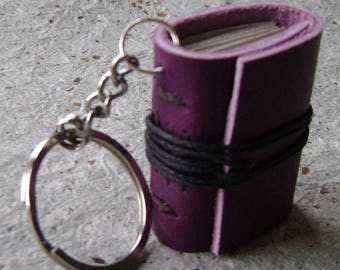 Miniature leather journal key ring, tiny book key ring, miniature journal, (2461)