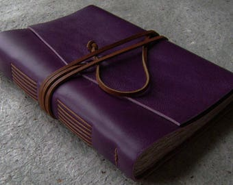 "Vintage style leather diary, 5.5"" x 7.5"", purple journal, handmade rustic leather journal, sketchbook, travel journal, (2518)"
