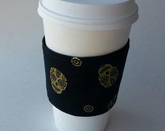 Gold Skulls on Black Reusable Coffee Sleeve