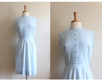 1960s Dress / Vintage Pale Blue Pintuck Dress