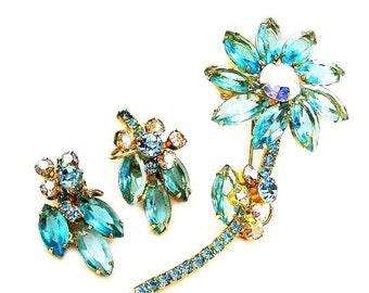 Bright Aqua Flower Brooch and Earring Set