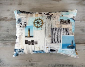Summer Seascapes lighthouse and sailboats in blues pillow