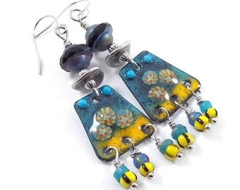 Blue and Yellow Enameled Chandelier Earrings, Silver Earrings, Murini Earrings, Artisan Earrings, Boho Earrings, Antique Silver - AE172
