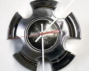 """1970 - 1981 Chevy Rally Hubcap Clock - Chevrolet Camaro Chevelle Nova Wall Decor - 1971 1972 1973 1974 1975 1976 1977 1978 1979 1980 - 6.5"""""""