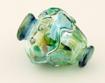Hollow Lampwork Glass Bead, Urn Focal, Iridescent Green, Blue