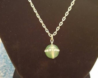 Silver with jade colored glass Pendant