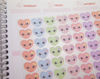 72 Kawaii Heart Stickers Perfect for Planner, Planner Stickers eclp - PS411