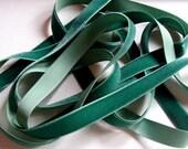 Vintage 1940's German Rayon Velvet Ribbon 5/8 Inch Peacock Green