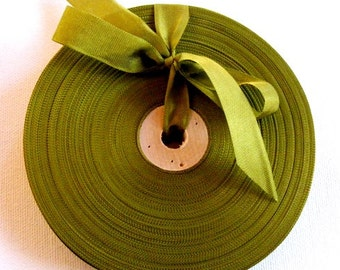 Vintage 1930's-40's French Woven Ribbon -Milliners Stock- 5/8 inch Golden Olive