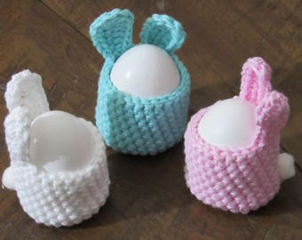 Hand crocheted Easter Bunnies egg holders Set of 3, pastel colors.