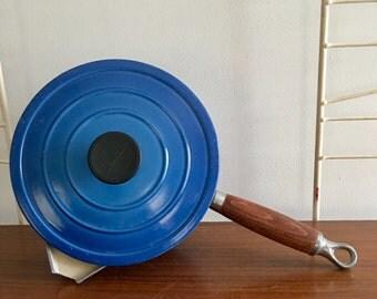 Vintage Le Creuset Cousances Sauce Pot Pan Blue 18 Enameled Cast Iron