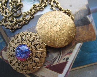 Round Filigree Locket Necklace With Mexican Fiery Opal Glass Gem
