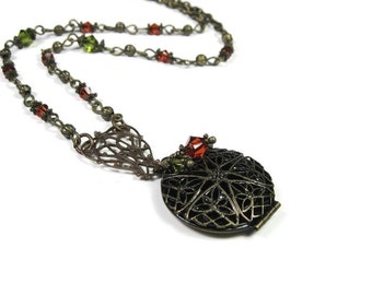 Victorian Style Necklace, Locket Necklace, Vintaj Brass, Pendant Necklace, Indian Red, Olive Green, Edwardian Style, Romantic Womens Gifts