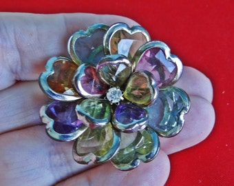 """Vintage silver tone 1.5"""" flower brooch in great condition"""