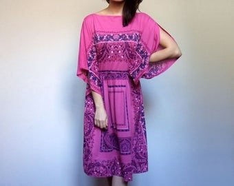 70s Scarf Print Dress Boho Dress Sheer Summer Dress Pink Day Dress Festival Dress Hot Pink Sundress - Large L