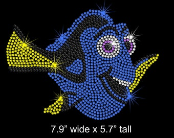 "7.9"" Dory (Finding Nemo) iron on rhinestone transfer applique patch"