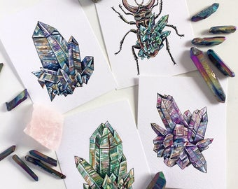 Original Miniature Crystal Paintings - Crystals Cluster Watercolour and Ink Gouache Rainbow Druzy Small Art Artwork Illustration Drawing