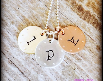 Hand Stamped Necklace, Hand Stamped Name Necklace, Tri Color Necklace, Three Disc Necklace, Initial Necklace, Mixed Metal Necklace, Mama Mia