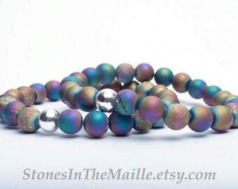 Druzy Agate Bracelet - Druzy Beaded Bracelet - Geode Bracelet - Druzy Stone - Agate Stone Jewelry - Meditation Bracelet - Yoga Bracelet