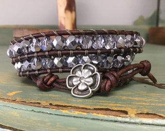 Metallic Lilac Beaded Leather Triple Wrap Bracelet with CZ button Closure