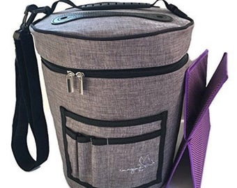 Yarn Storage Organizer Bag for Crocheting & Knitting with Divider - Craft Supplies Holder - Gray Purple Zip Top Travel Tote